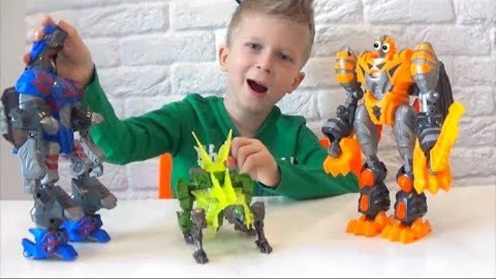Роботы Трансформеры Десептиконы Автоботы. динозавры Открываю и играю! Мини Коржик!