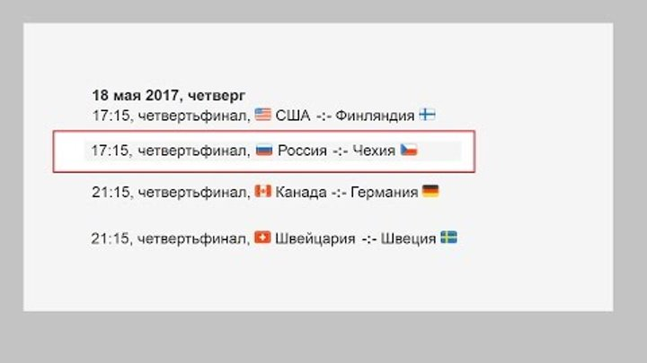 Чемпионат Мира по хоккею. Россия Чехия Плей офф Расписание