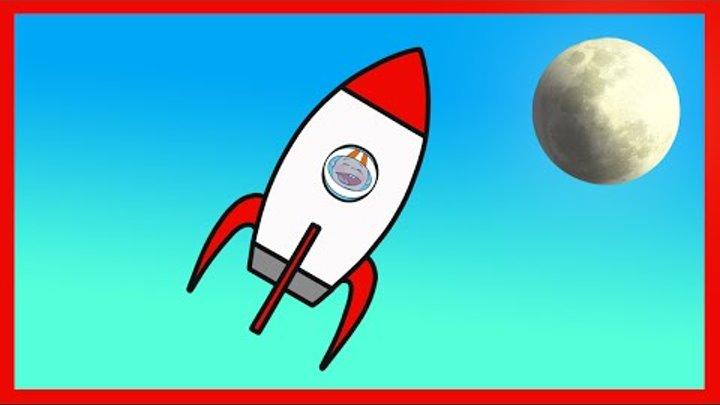 Мультик Раскраска для малышей. Ракета. Полет в космос. Учим цвета