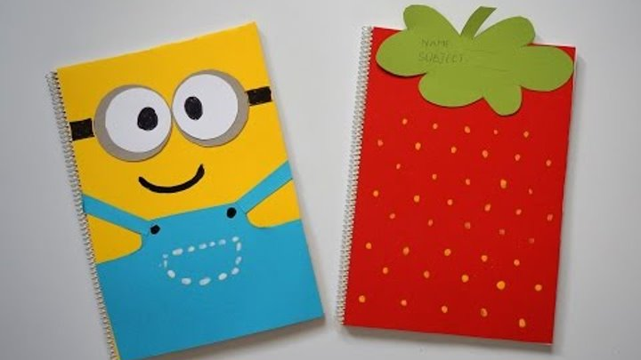 DIY Notebook Covers Minions & Strawberry   Back To School 2015