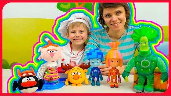 Видео про игрушки: Фиксики Нолик Симка Папус и Смешарики Пин Лосяш. Готовим торт для Нюши