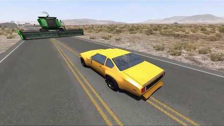 Смертельный комбайн в BeamNg.Drive. Разбиваем суперкары под крутой музон! Аварии машинок 20177