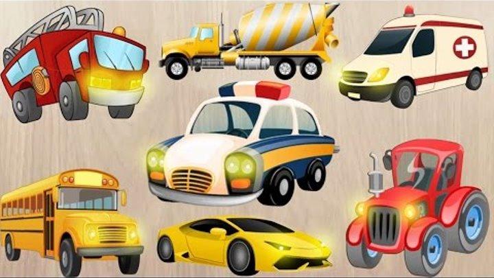 Полицейская машина, Скорая помощь, Пожарная машина, Школьный автобус, Трактор