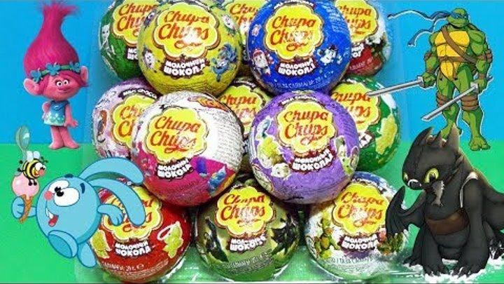 Chupa Chups Mix #2! 13 серий сюрпризы Чупа Чупс Свинка Пеппа, Смешарики, Тролли, Robocar Poli, Winx