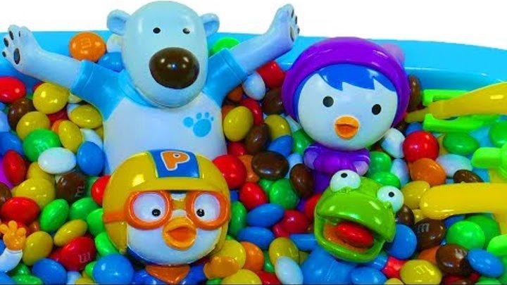 Пороро Учим цвета для самых маленьких Много конфет Мультик с игрушкой Пингвиненок Пороро и друзья