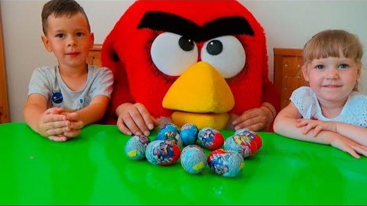 Энгри бердс открывает шоколадные яйца с сюрпризом Angry Birds Transformers. Распаковка киндеров.