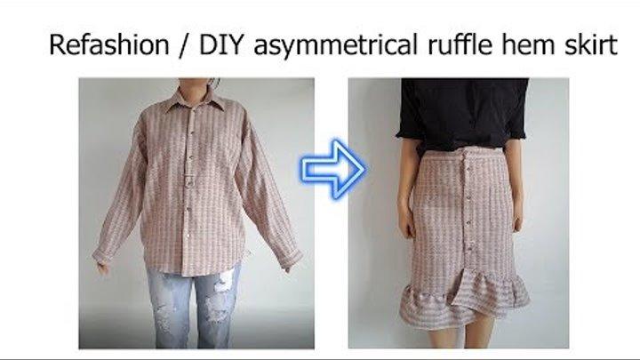 Refashion/ DIY asymmetrical gingham ruffle skirt from men's shirt