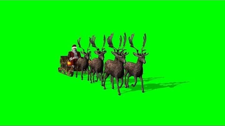 Santa Claus with sleigh and reindeer animated 3