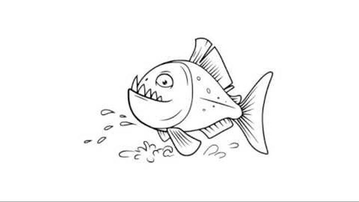 как нарисовать пиранью,how to draw a piranha,cómo dibujar una piraña ...