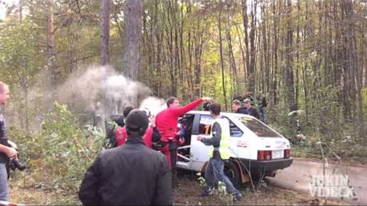 White Rally Car Smashes Into Tree - Photographer Nearly Hit!