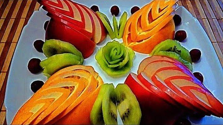 5 Лайфхаков Как красиво нарезать фрукты Как красиво оформить стол Украшения из фруктов