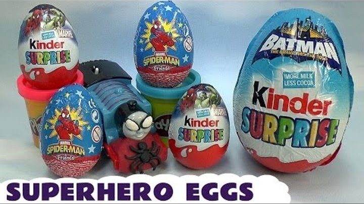 Play Doh Thomas & Friends Kids Spider-Man Surprise Eggs Marvel Superhero Egg Captain America Batman