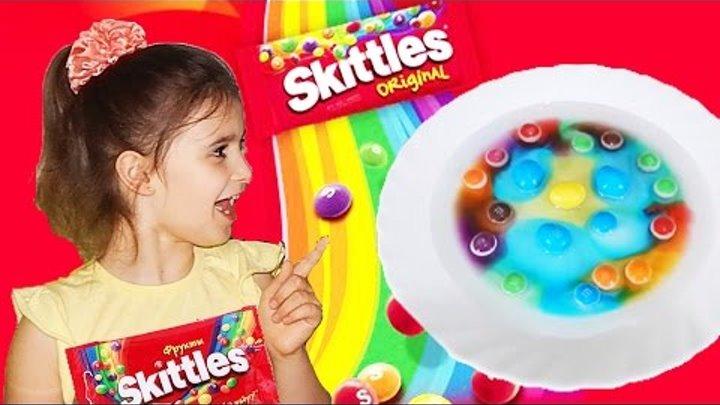 Скитлс эксперимент Опыты для детей с конфетами скитлс