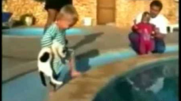 Baby throws a cat in the swimming pool