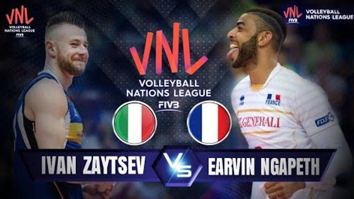 HIGHLIGHTS Ivan Zaytsev vs Earvin Ngapeth / VNL 2018 / france vs italy / men's Volleyball