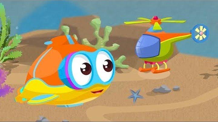 Dessin animé en français. Flippy-petit sous-marin assemble un hélicoptère