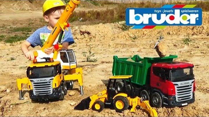 Машинки для детей #Брудер Автокран Самосвал Игрушки #машинки Видео для мальчиков toys for kids