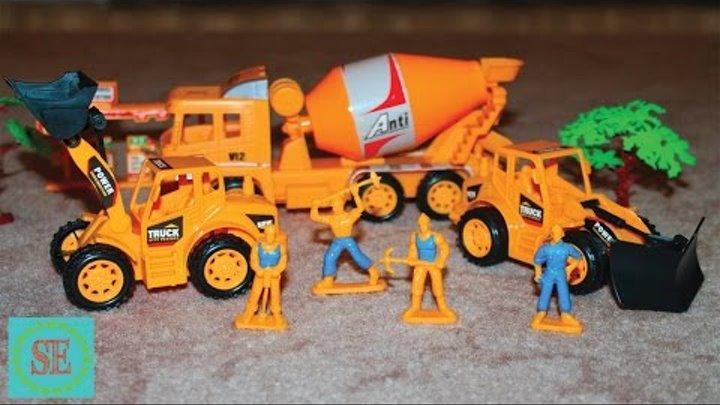 Рабочие машины Бульдозер и бетономешалка Мультики про машинки Видео для детей Work machine for kids