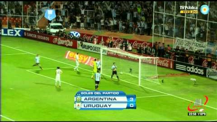 RESUMEN PARTIDO - ARGENTINA 3 URUGUAY 0 - ELIMINATORIAS FECHA 9 (12 10 2012)