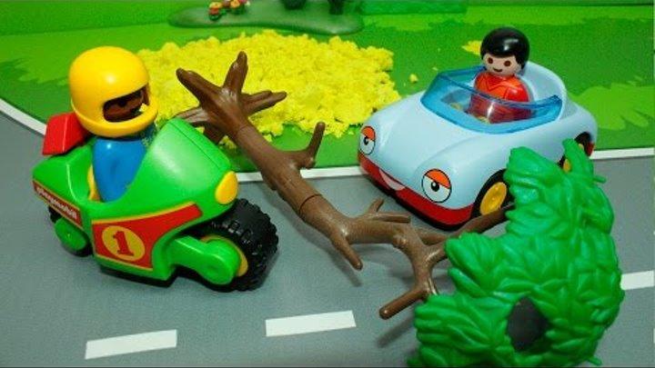 Машинки в мультике Большая пробка. Машинки и техника Playmobil: Автобус. Бульдозер. Велосипед.