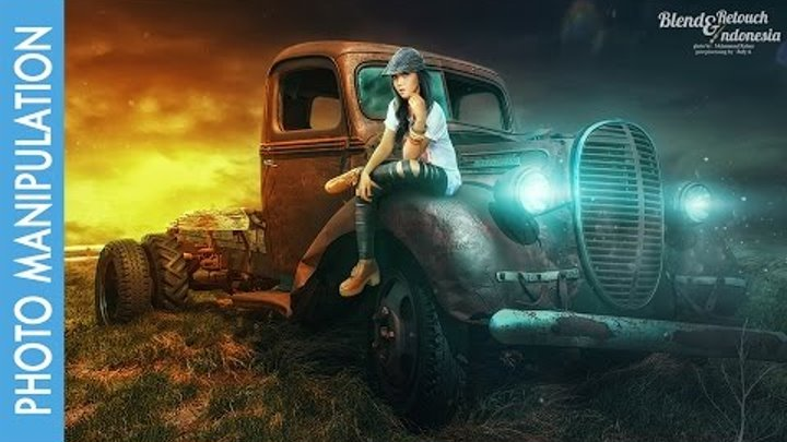 Photoshop Photo Manipulation Tutorial Effects: Gilr and Old Car
