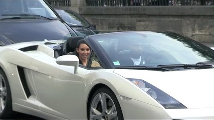 EXCLUSIVE - Kim Kardashian and Kanye West rent a White Lamborghini for a crazy ride in Paris
