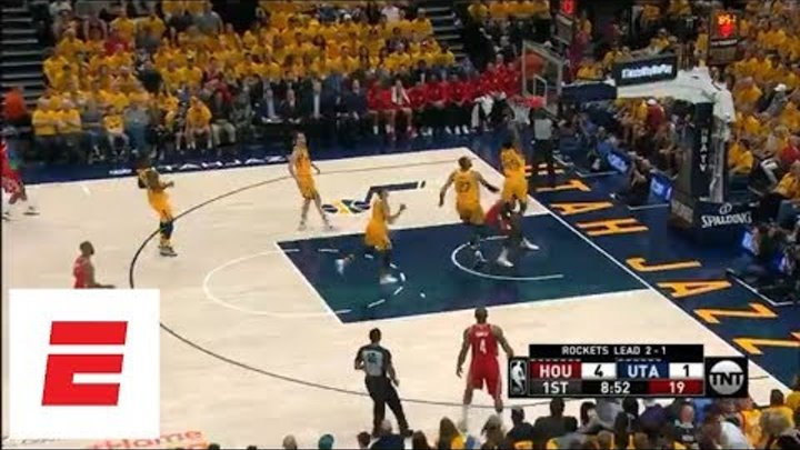 Donovan Mitchell clears Clint Capela in effort to block shot in Game 4 | ESPN