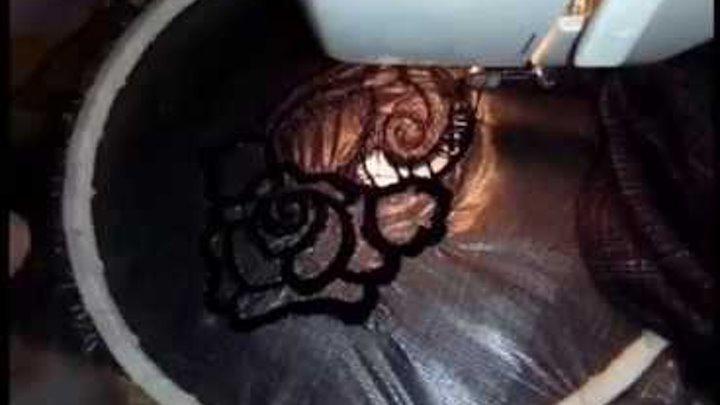 Машинная вышивка - обычная швейная машинка. Ришелье - мастер класс. Richelieu. Embroidery