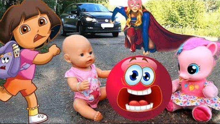 Безопасность на дороге для детей Супер девочки и Даша Путешественница спасли Беби Бон и Пинки Пай