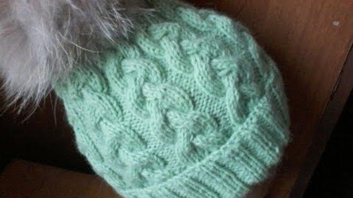 Вязание шапки с косами на 5 спицах