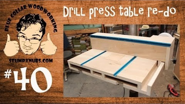 SWEET Homemade drill press table with T-Style fence and dust collection- Stumpy Nubs Woodworking 40