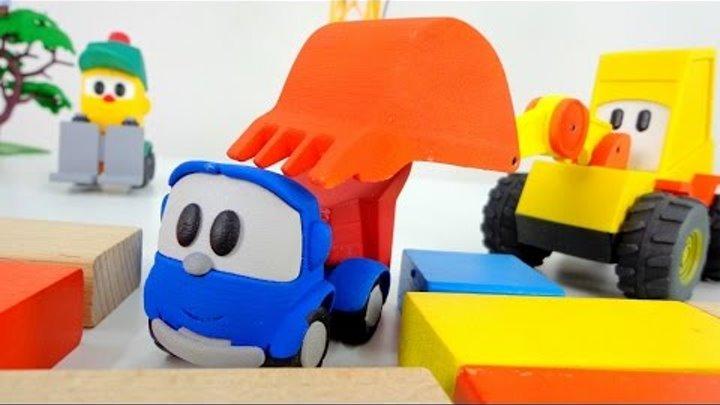 Видео для детей: Грузик и экскаватор Мася спасают машинку Грузовичок Лёва. Игрушки машинки.