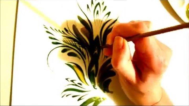 урок Петриковской росписи. рисуем кисточкой из кошачьей шерсти (Petrikovka Ukraine)