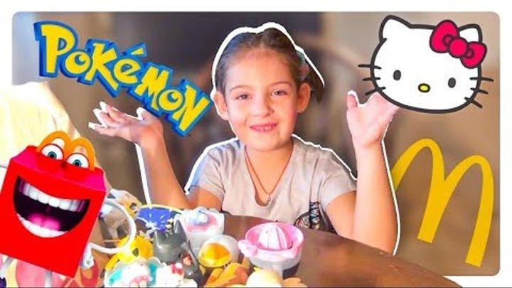 Игрушки Хэппи Мил в Макдональдс октябрь 2017 Покемоны и Хэлло Китти Pokemon and Hello Kitty