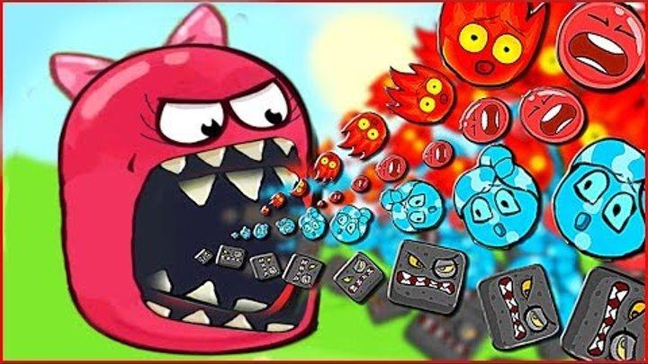 Несносный Красный Шарик VS ОГОНЬ И ВОДА Новый Мульт Игра для Детей RED BALL 4 Volume 5 INTO THE CAVE