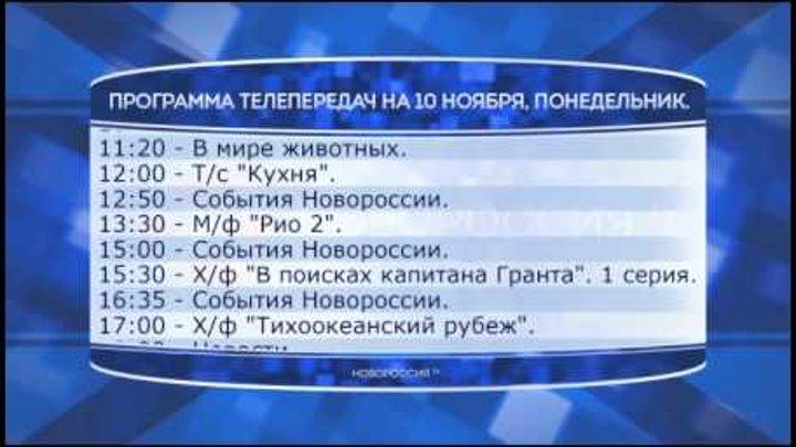 """Программа телепередач канала """"Новороссия ТВ"""" на 10.11.2014"""