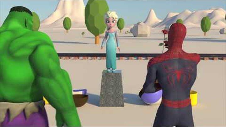 💗Принцесса Эльза💗 Человек-паук и Халк влюбляются в Эльзу. Frozen Elsa & Spiderman vs Hulk