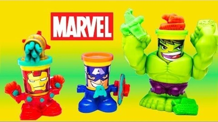 PLAY DOH AVENGERS CAN HEADS MARVEL KINDER SURPRISE SURPRISE EGGS 2015