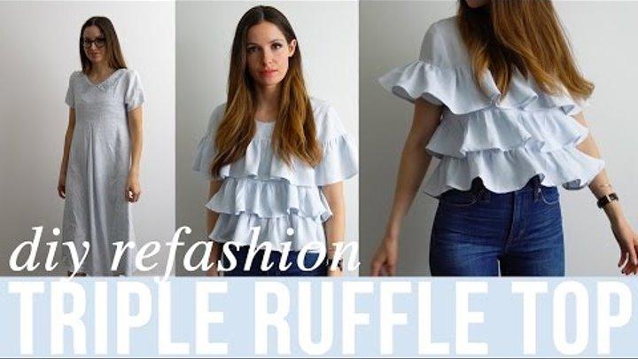 DIY triple ruffle top from dress refashion