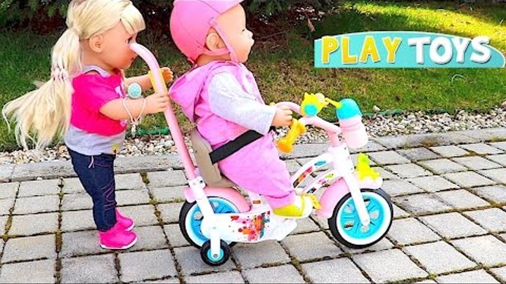 Baby Doll Bicycle & house toy, play with Baby Born & baby Annabell dollhouse kids toys