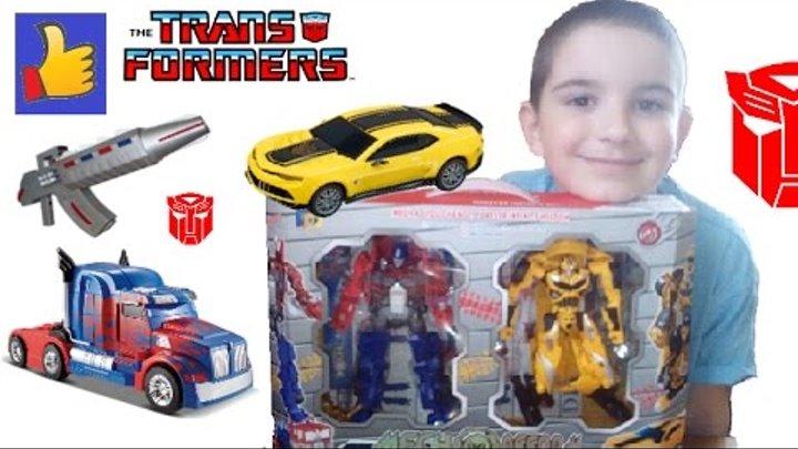 Бамблби и Оптимус. Распаковка, роботы трансформеры прайм transformers Bumblebee and Optimus