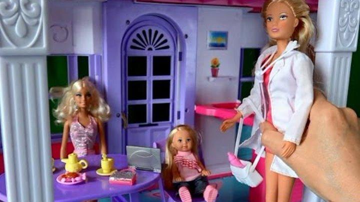 Барби, Челси и Штеффи врач, Застуда Рапунцель серия 51 Видео с куклами