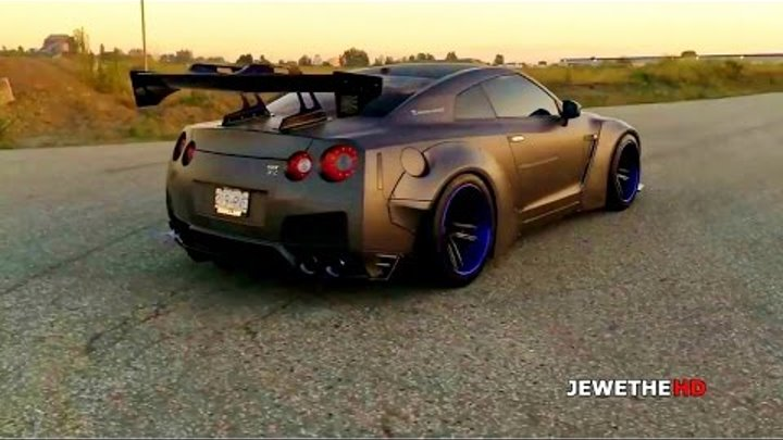 BADASS Nissan GT-R R35 Liberty Walk w/ ARMYTRIX Performance Exhaust! Revs & LAUNCH!