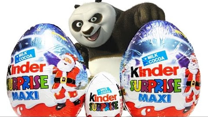 Катя открывает киндер сюрпризы - kinder surprise maxi, kung fu panda kinder surprise egg unwrapping.