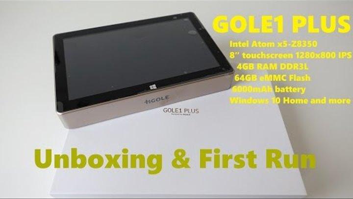 "GOLE1 Plus Mini PC with 8"" Screen, 4GB RAM, 64GB eMMC, Intel x5-Z8350 Unboxing & First run (Video)"