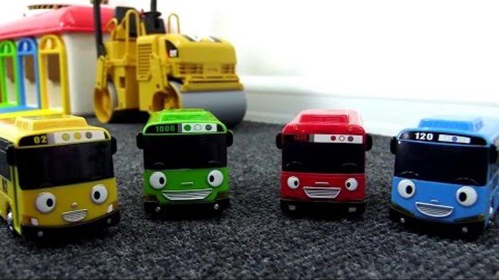 Мультики про машинки: Автобус ТАЙО! Строим трассу. Рабочие машины: Грузовичок, Подъёмный кран