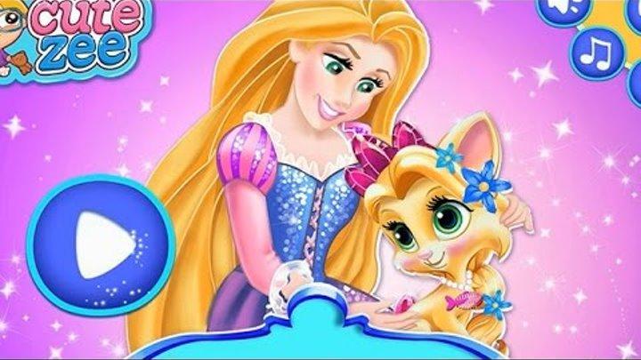 NEW Игры для детей—Disney Принцесса Рапунцель уход за королевским питомцем летом—мультик для девочек