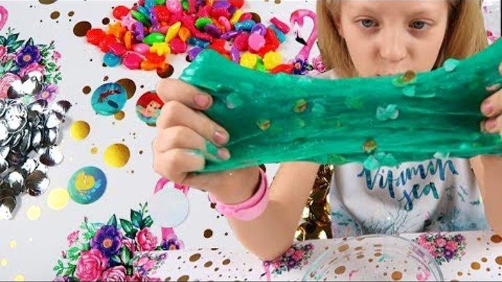 DIY: Слайм Русалка Ариэль Морские слаймы с ракушками Сделай сам слайм