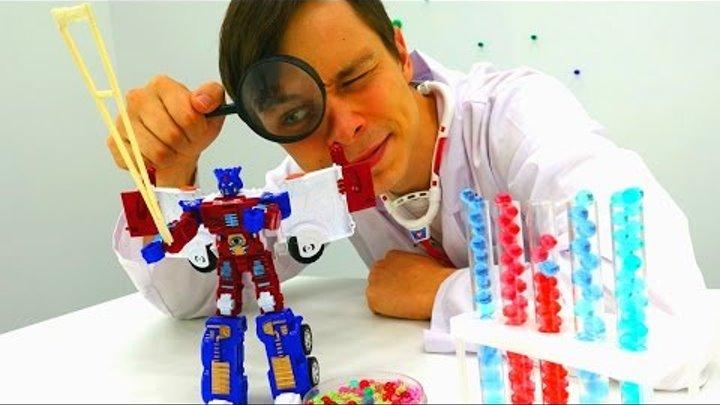 Игры для детей. Роботы ТРАНСФОРМЕРЫ в больнице! Доктор ОЙ лечит Оптимуса Прайма. Видео для мальчиков