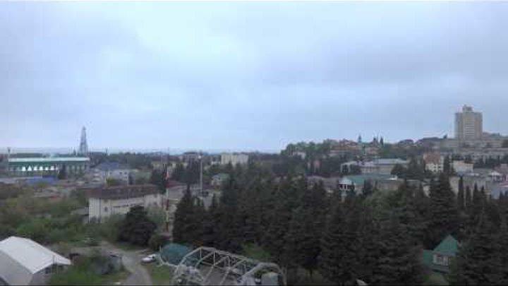 Туман ранним утром. t +14°C, вода t +13°C Лазаревское, погода 2 мая 2015 года, SOCHI RUSSIA